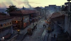 View an image titled 'Alexandria Street Art' in our Assassin's Creed Origins art gallery featuring official character designs, concept art, and promo pictures. Fantasy Art Landscapes, Fantasy Landscape, Environment Concept Art, Environment Design, Montreal, Assassins Creed Origins, Fantasy Concept Art, Fantasy Places, Chinese Architecture