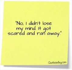 no i did not lose my mind, it got scared and ran away