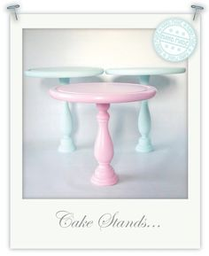 Various DIY cake stands...can find this stuff at michaels and the dollar store, then spray paint to match your theme...or use old china and metal for a different kind of stand