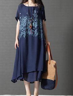 Tubino Vestito Da donna-Casual Semplice Con stampe Rotonda Medio Manica corta Cotone Estate A vita medio-alta Media elasticità del 5196250 2017 a €11.54