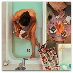 Die Torte in der Badewanne , Ölgemälde von Lee Price mit außergewöhnlichen Motiven und Perspektive im Fotorealismus