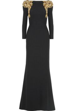 Alexander McQueen gold Embellished crepe gown. This is such an elegant black dress