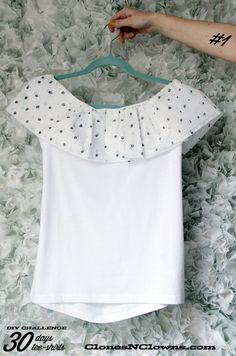 DIY 30 DAYS 30 TEE-SHIRTS : #1 with a ruffle across the shoulders