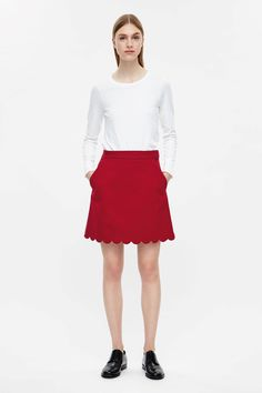 COS image 1 of Skirt with scalloped hem in Red