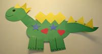 Shape-A-Saurus is a craft for preschoolers--glue and stick shapes let each kid create a unique dinosaur. Free templates.