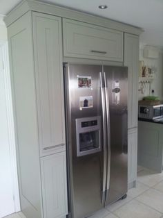 Housing the fridge freezer. Barn Kitchen, Kitchen Family Rooms, Kitchen Pantry, Living Room Kitchen, Kitchen Ideas, Kitchen Reno, Kitchen Stuff, Kitchen Island, Dining Room