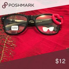 🎁Fashion Glasses New! Black Frame/Red Lip and a diamond on inside of lip..Fast Ship New! Accessories Glasses