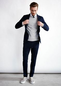 fall layers // menswear, mens style, mens fashion, sneakers, navy suit, sweater, preppy, fall style, fall fashion