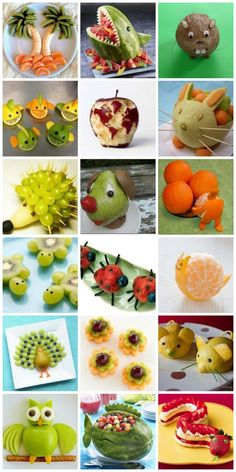 decorate with fruit Decorations with fruit - Food Carving Ideas<br> Fruit Decorations, Food Decoration, Easy Meals For Kids, Kids Meals, Deco Fruit, Finger Foods For Kids, Vegetable Snacks, Vegetable Animals, Fruit Animals