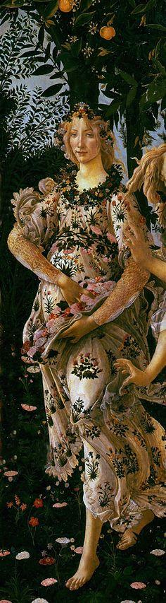 Primavera (detail) Circa 1482 -- Sandro Botticelli (Alessandro di Mariano di Vanni Filipepi) (1445-1510, Italian) Tempera on panel -- Uffizi Gallery, Florence