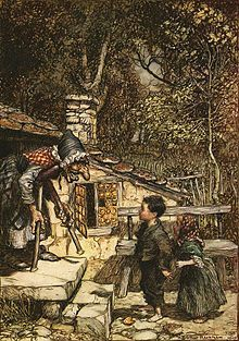 In this version of Hansel and Gretel from the Brothers Grimm. In this version they are children of a woodcutter, whose second wife convinces him to take them to the woods and leave them there. The children find a house that was made out of sweets and candy, which is where a cannibalistic witch lives.