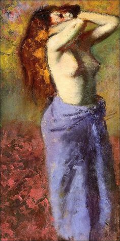 Female figure by Edgar Degas. It is interesting to compare the beautiful scumbled paint on the towel and carpet in this painting with some of Titian's late works. Like Titian Degas rubbed, wiped and scraped the paint as he applied it. The paint has a life all its own.