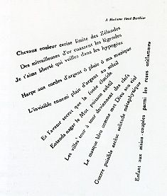 "Guillaume Apollinaire, ""Visee"", ""Aim"" from Calligrammes. 1918"