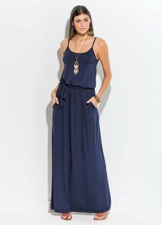 O Blog do Charme da Moda e Variedades: VESTIDO LONGO MARINHO COM ALÇAS QUINTESS