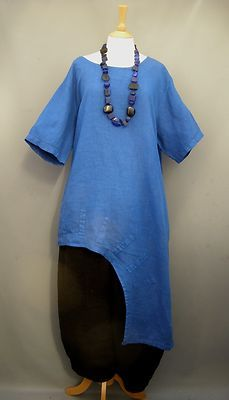 REDUCED La Bass Royal Blue Dramatic Oversized Linen Arch Hem Top Sizes 2 | eBay