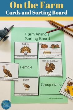 Are you working on a farm animals theme? These printable cards for kids can be used as flashcards, in a matching game, sorting and other activities. These cards can be used from preschool through to 1st and 2nd grade. The farm animals cards have vocabulary that covers farm animal products, male, female and baby names as well as collective nouns. #farmanimals #farmanimalscards #farmannimalstheme