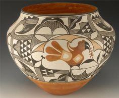 Lolita Chonco 4 color Acoma Pottery - Native American pottery by bridgette.jons