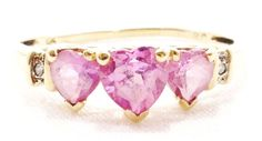 10k Solid Gold Heart Ring Pink Topaz Beautiful Love Can Be Sized Free Shipping