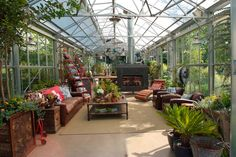 The greenhouse is home to plenty of plants but also has space for lounging and dining. Heating (including radiant heat), air conditioning an...