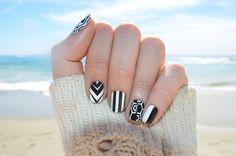 "Black And White Short Nail Art - NCLA nail wraps "" It don't matter"" designed by Melody Ehsani. www.shopncla.com"