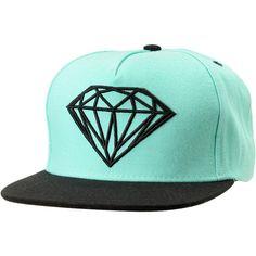 Diamond Supply Brilliant Mint Black Snapback Hat ($40) ❤ liked on Polyvore
