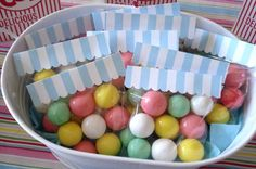 GUMBALL BAG- This is such a cheap but way cute idea for a party favor at any birthday party. Just pick the party theme colors for the gumballs