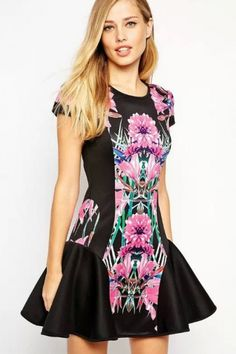 LUCLUC Black Floral printed Scoop Skater Dress