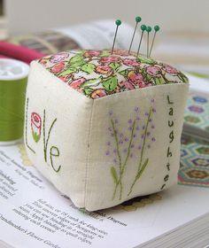 cube pincushion-stuff with steel wool to keep pins sharp