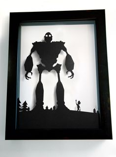 Iron Giant and Hogarth 3D silhouette 11x15 handcut by willpigg, $55.00 - I really want this.  Like, really.  Like, if anyone I know is asked by The Fella for Christmas suggestions, point him this way.