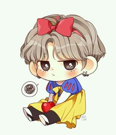 Snow White V Taehyung bts fanart Bts Chibi, Anime Chibi, Anime Kawaii, Bts Taehyung, Taehyung Fanart, Kpop Drawings, Cartoon Drawings, Chibi Tutorial, Fanart Kpop