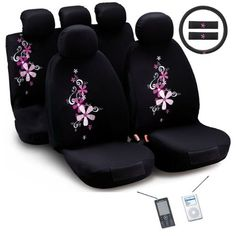 Montage Flower Universal Fit Seat Cover Set (Airbag-friendly) - Overstock Shopping - Big Discounts on Bloom Car Seat Covers Truck Seat Covers, Bench Seat Covers, Car Interior Accessories, Cute Car Accessories, Automotive Seat Covers, Customize Your Car, Thing 1, Fit Car, Cutest Thing Ever