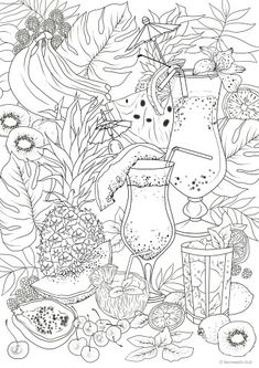 Seasons Printable Adult Coloring Pages from Favoreads Fruit Coloring Pages, Detailed Coloring Pages, Printable Adult Coloring Pages, Cute Coloring Pages, Free Coloring, Coloring Sheets, Coloring Books, Doodle Art, Sketches