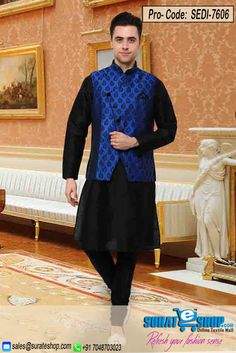 Women Beauty Is Magnified Tenfold In This Form Of A Alluring Black Art Silk, Dupioni Raw Silk Men`S Wear. The Ethnic Self Work In The Dress Adds A Sign Of Splendor Statement For Your Look. Paired With A Matching   Visit: http://surateshop.com/product-details.php?cid=1_54&pid=10502&mid=0