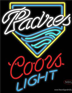 Coors Light San Diego Padres MLB Real Neon Glass Tube Neon Sign,Affordable and durable,Made in USA,if you want to get it ,please click the visit button or go to my website,you can get everything neon from us. based in CA USA, free shipping and 1 year warranty , 24/7 service
