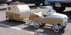 Child's miniature car, with miniature trailer (actually an ice chest on wheels), c. mid-20th C.