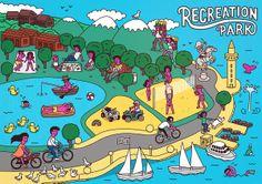 Recreation Park, Illustration by Zhenya Artemjev, via Behance. by barsikestribu