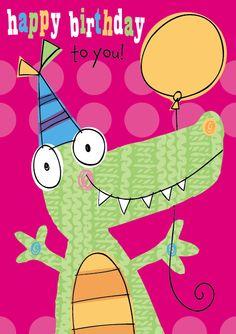 Birthday Party Crocodile Illustration