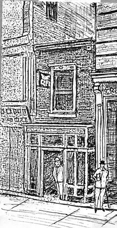"""1876 - 848 Broadway, a small bar next door to Wallack's Theater, nicknamed """"The Match Box"""""""