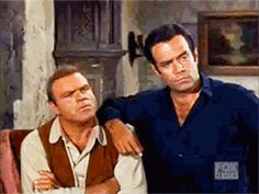 "Hoss and Adam laugh at Little Joe's new job as Sheriff of Rubicon (Bonanza; ""The Tin Badge"", S03E13, 1961)"