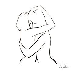 """Female Power IV"" – an original artwork by the Austrian artist Andrea Kollar. An ink black and white drawing of two hugging people. You can request the original painting on my website. Minimal art 