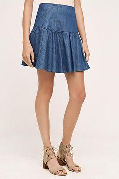 Tiered Denim Mini Skirt - anthropologie.com