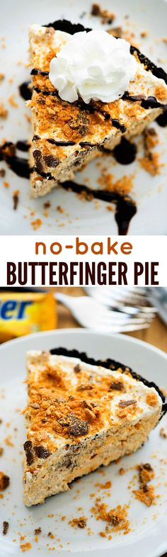 This cool and creamy Butterfinger Pie is the stuff dreams are made of. It's a no-bake dessert that's so easy to make. Ingredients [ For 10 to 11 people ] [ Preparation time : 15 minute - Cooking time : 15 No Bake Desserts, Easy Desserts, Delicious Desserts, Yummy Food, Baking Desserts, Homemade Desserts, Healthy Desserts, Butterfinger Pie, Birthday Desserts