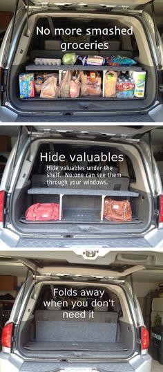Best Ideas For Cars Hacks : Illustration Description Picture of Handy Pop-up Trunk Shelf -Read More – Pop Up, Car Essentials, Car Storage, Car Hacks, Useful Life Hacks, Diy Car, Organization Hacks, Suv Trunk Organization, Organising Ideas