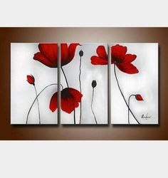 Ode-Rin - Hand Painted Oil Painting on Canvas Red Blooming Flowers Framed and Stretched 3 Pieces Lonely Floral Wall Art Painting for Living Room Home Decor, Ready to Hang - x 3 Panels) Oil Painting Gallery, Oil Paintings, Floral Paintings, Painting Flowers, 3 Canvas Paintings, Flower Artwork, Red Flowers, Blooming Flowers, Simple Flowers