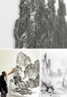 When you run out of paint just use nails. Chen Chun-Hao reproduces traditional Chinese landscape paintings using thousands of nails on canvas-covered wood.