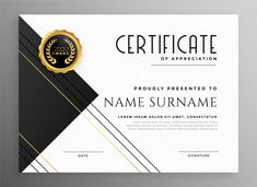 Modern black white and gold certificate template Free Vector