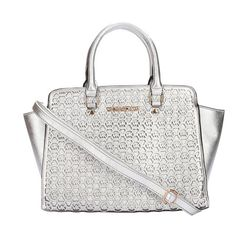 #PinLove Follow The Latest Fashion To Wear Michael Kors Selma Monogram Saffiano Large Silver Totes With High Quality And New Style!