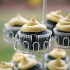 Blue Velvet Cupcakes w/ Yellow CC Frosting - bet you've never seen these before!