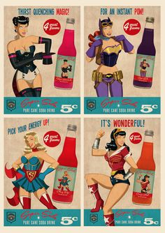 Just having a bit of fun with the BOMBSHELL versions of Batgirl, Zatanna, Supergirl and Wonder Woman with these faux retro 'Super Soda' adv. Comic Book Characters, Comic Character, Comic Books Art, Female Characters, Comic Art, Dc Comics, Comics Girls, Batgirl, Batwoman