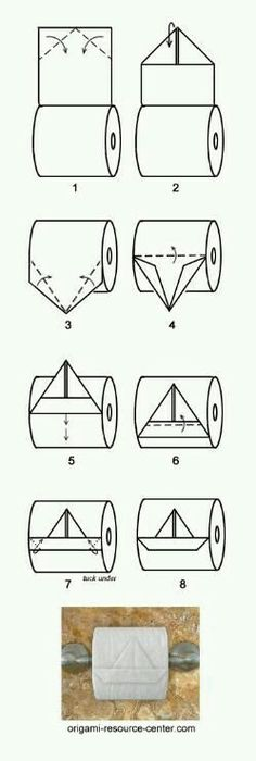 boat toilet paper origami - this is just too funny :D Toilet Paper Origami, Instruções Origami, Oragami, Origami Boat, Funny Toilet Paper, Toilet Paper Roll, Fun Crafts, Craft Ideas, Useful Life Hacks